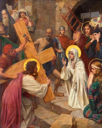 アントワープ, ベルギー - 9 月 5 日イエス ・ キリストおよび十字の 1903年-1910 年からヨセフ オーウェンサウンドサンタイムズによってサイクルの一 報道画像