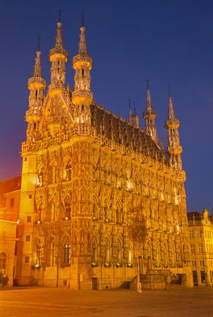 leuven: Leuven - Gothic town hall in evening dusk Editorial