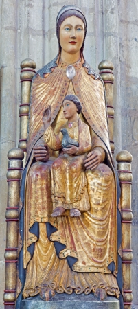 polychrome: LEUVEN - SEPTEMBER 3: Neo-gothic polychrome statue of Madonna in st. Peters gothic cathedral on September 3, 2013 in Leuven, Belgium. Editorial