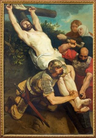 leuven: LEUVEN, BELGIUM - SEPTEMBER 3: Paint of Crucifixion of St. Michaels church (Michelskerk) in September 3, 2013 in Leuven, Belgium.