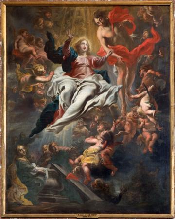 ANTWERP, BELGIUM - SEPTEMBER 5  Assumption of Mary into Heaven by Cornelis Schut 1597-1605 in St  Charles Borromeo church on September 5, 2013 in Antwerp, Belgium