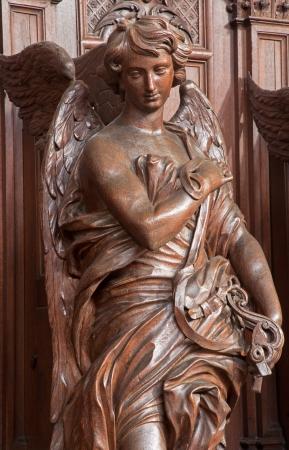 st charles: ANTWERP, BELGIUM - SEPTEMBER 5  Carved angel in St  Charles Borromeo church on September 5, 2013 in Antwerp, Belgium