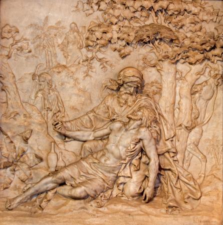 ANTWERP, BELGIUM - SEPTEMBER 5  Marble relief of merciful Samaritan scene in St  Charles Borromeo church on September 5, 2013 in Antwerp, Belgium