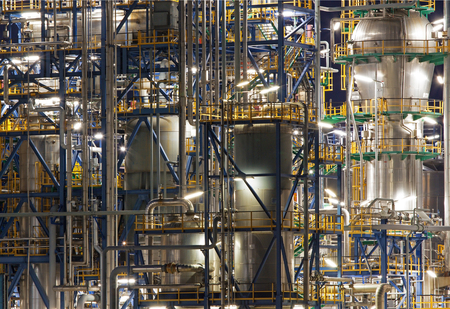 Oil refinery Schwechat in Austria at night photo