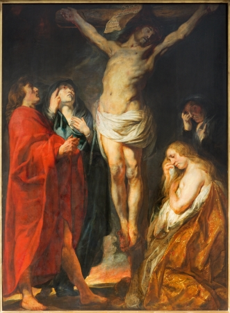 ANTWERP, BELGIUM - SEPTEMBER 5: The Crucifixion paint by great baroque master Jacon Jordaens in St. Pauls church (Paulskerk) on September 5, 2013 in Antwerp, Belgium Stock Photo - 23930919