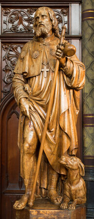 ANTWERP, BELGIUM - SEPTEMBER 5: Carved statue of apostle Jacob from Joriskerk or st. George church on September 5, 2013 in Antwerp, Belgium Stock Photo - 23930924