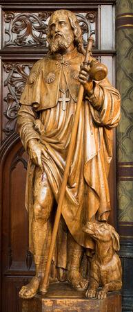 ANTWERP, BELGIUM - SEPTEMBER 5: Carved statue of apostle Jacob from Joriskerk or st. George church on September 5, 2013 in Antwerp, Belgium Stock Photo - 23930924