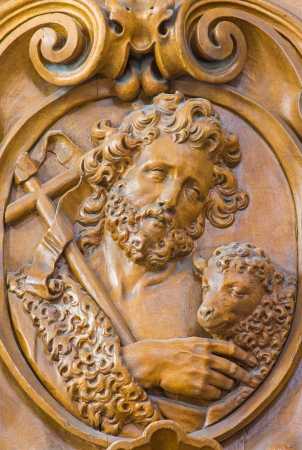 LEUVEN, BELGIUM - SEPTEMBER 3: Carved relief of Saint John the Baptist in Sint jan de Doperkerk on September 3, 2013 in Leuven, Belgium.