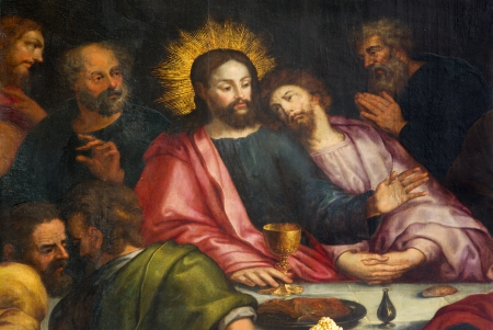 Antwerp - Jesus and st  John at last supper - Jakobskerk Imagens - 24153656
