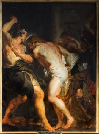 flagellation: ANTWERP, BELGIUM - SEPTEMBER 5: The Flagellation of Jesus paint by  baroque master Peter Paul Rubens in St. Pauls church (Paulskerk) on September 5, 2013 in Antwerp, Belgium