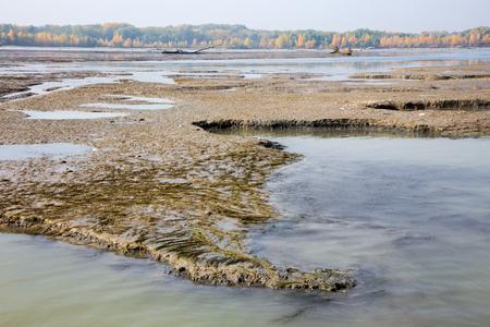 morass: Sediments in the Cunovo Dam on the Danube river - Slovakia Stock Photo
