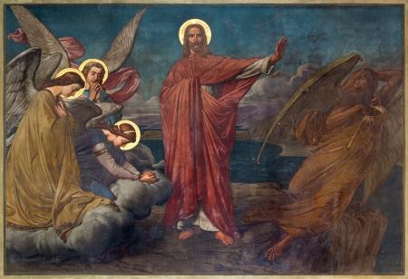 ANTWERP, BELGIUM - SEPTEMBER 5: Fresco of Temptation of Jesus in Joriskerk or st. George church from 19. cent. on September 5, 2013 in Antwerp, Belgium Stock Photo - 24152847