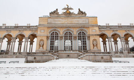 the gloriette: VIENNA - JANUARY 15: Gloriette from gardens of Schonbrunn palace winter. Gloriette was built in year 1775 on January 15, 2013 in Vienna.