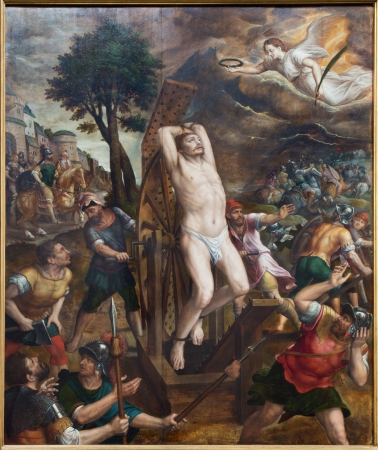martyrdom: MECHELEN, BELGIUM - SEPTEMBER 6: The Martyrdom of saint George. Main panel of triptych by Michiel van Coxie (1588) in St. Rumbolds cathedral on September 6, 2013 in Mechelen, Belgium. (1544 - 1588) Editorial