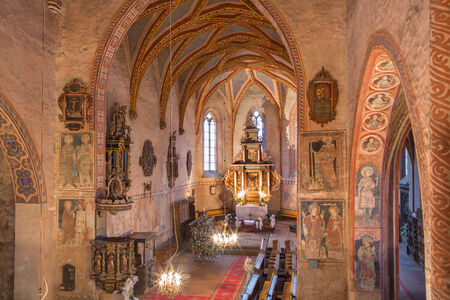evangelical: STITNIK - DECEMBER 29: Gothic evangelical church in Stitnik from 14 - 15 cent. on December 29, 2013 in Stitnik, Slovakia.