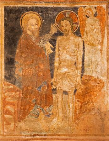STITNIK - DECEMBER 29: Medieval fresco of Baptism of Christ in gothic evangelical church in Stitnik from 14 - 15 cent. on December 29, 2013 in Stitnik, Slovakia.