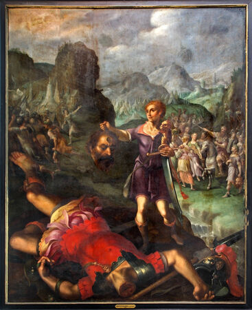 david and goliath: MECHELEN, BELGIUM - SEPTEMBER 6: David and Goliath scene. Paint by painter De Sayvede Oude from year 1624 in St. Rumbolds cathedral on September 6, 2013 in Mechelen, Belgium. Editorial