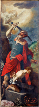 david and goliath: MECHELEN, BELGIUM - SEPTEMBER 6: Proof of Abraham. Left panel of triptych David and Goliath by De Sayvede Oude from year 1624 in St. Rumbolds cathedral on September 6, 2013 in Mechelen, Belgium. Editorial