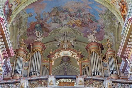 JASOV - JANUARY 2: Baroque organ and fresco by Johann Lucas Kracker (1752 - 1776) on baroque ceiling from  Premonstratesian cloister in Jasov on January 2, 2014 in Jasov, Slovakia.