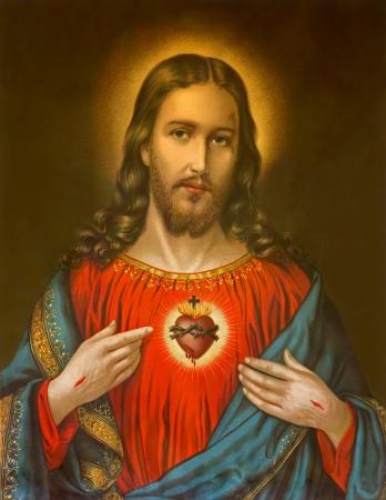 Jezus: NIEMCY 1899: Kopia typowej katolickiej wizerunkiem serca Jezusa Chrystusa ze Słowacji drukowane na 19. kwietnia 1899 w Niemczech. Publikacyjne