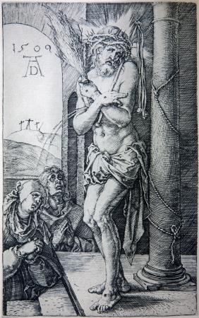 durer: GERMANY - 1928: Lithography of tortured Jesus Christ by Albert Durer. Book  Durer als Fuhrer published by Josef Muller, Munchen, Garmany 1928.