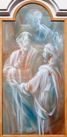 Angeli: ROME - MARCH 20: Jesus and apostle. Detail of modern fresco from basilica Santa Maria degli Angeli e dei Martiri on March 20, 2012 in Rome.