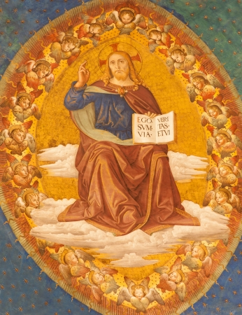 Rome - detail of fresco of Christ Pantokrator from apse of Santa Croce in Gerusalemme church by Antoniazzo Romano (1430-1510) and Marco Palmezzano (1460-1539)