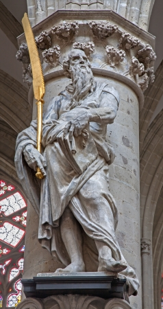 herbe: BRUSSELS - JUNE 22: Statue of st. Simon the apostle by Lucas e Faid Herbe (1644) in baroque style from gothic cathedral of Saint Michael and Saint Gudula on June 22, 2012 in Brussels.