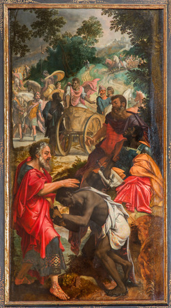 ANTWERP, BELGIUM - SEPTEMBER 5, 2013: Paint of scene - Baptism of the Ethiopian Eunuch by Philip by unknown painter in the cathedral of Our Lady. Editoriali
