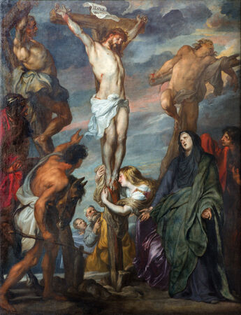 MECHELEN, BELGIUM - SEPTEMBER 6m 2013: Paint of Crucifixion scene in St. Rumbolds cathedral by glorious baroque painter Anton van Dyck.