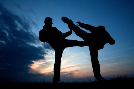 congruence: karate training in evening - silhouette