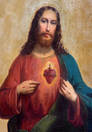 TRNAVA, SLOVAKIA - MARCH 3, 2014: Heart of Jesus Christ. Paint from side altar from 19. cent.
