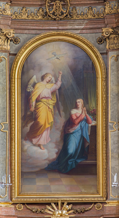 incarnation: VIENNA, AUSTRIA - FEBRUARY 17, 2014: Annunciation from main altar of baroque Servitenkirche - church completed in 1670. Editorial