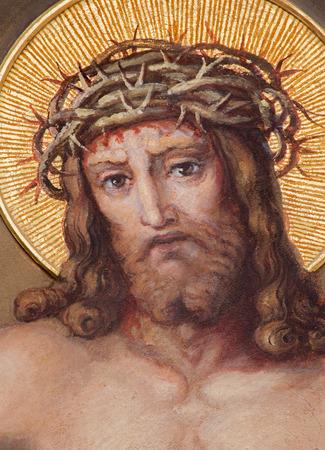 VIENNA, AUSTRIA - FEBRUARY 17, 2014: Detail from fresco of Resurrected Christ in Carmelites church in Dobling from begin of 20. cent. by Josef Kastner.