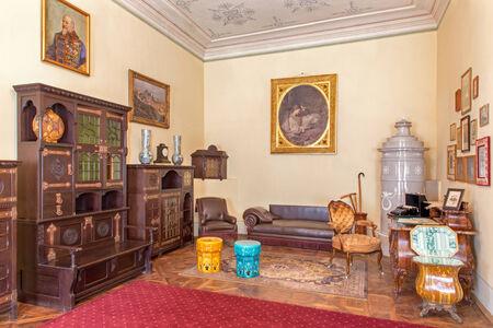 anton: SAINT ANTON, SLOVAKIA - FEBRUARY 27, 2014: Bulgarian saloon in palace Saint Anton with the furniture form 19. cent.