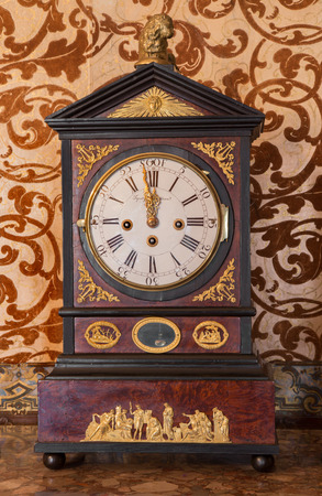 anton: SAINT ANTON, SLOVAKIA - FEBRUARY 26, 2014:  Table clock from 19. cent. in palace Saint Anton.