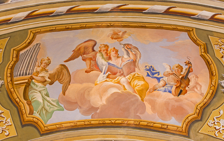 anton: SAINT ANTON, SLOVAKIA - FEBRUARY 26, 2014: Choir of angels fresco from ceiling of chapel in Saint Anton palace by Anton Schmidt from years 1750 - 1752.