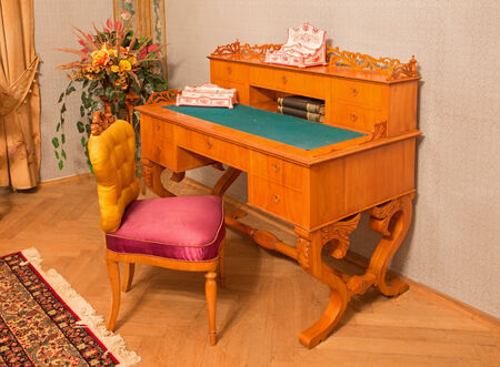 SAINT ANTON, SLOVAKIA - FEBRUARY 27, 2014: Worktable from 19. cent. in saloon of Luise in palace Saint Anton.