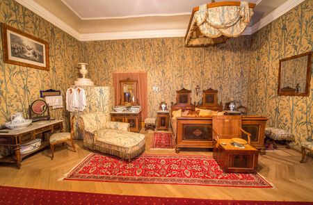 anton: SAINT ANTON, SLOVAKIA - FEBRUARY 27, 2014: Bedroom of guests. Furniture from 19. cent in palace Saint Anton.