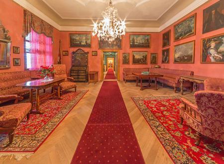 anton: SAINT ANTON, SLOVAKIA - FEBRUARY 27, 2014: Biedermayer saloon from 19. cent. in palace Saint Anton.
