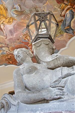 vestibule: SAINT ANTON, SLOVAKIA - FEBRUARY 26, 2014: Detail from vestibule of main stairs in palace Saint Anton.