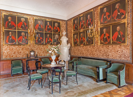 anton: SAINT ANTON, SLOVAKIA - FEBRUARY 26, 2014: Main saloon with the portraits of glorious officers from war with the Turks by Carl Emrich  (1727 - 1731) in palace Saint Anton.
