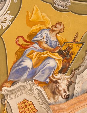 anton: SAINT ANTON, SLOVAKIA - FEBRUARY 26, 2014: Saint Luke the Evangelist fresco from ceiling of chapel in Saint Anton palace by Anton Schmidt from years 1750 - 1752.