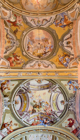 anton: SAINT ANTON, SLOVAKIA - FEBRUARY 26, 2014: Ceiling of chapel in Saint Anton palace with the frescoes by Anton Schmidt from years 1750 - 1752.