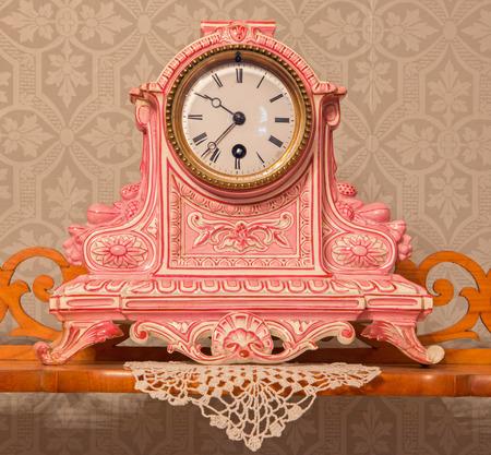 anton: SAINT ANTON, SLOVAKIA - FEBRUARY 27, 2014:  Ceramic table clock from 19. cent. in palace Saint Anton.