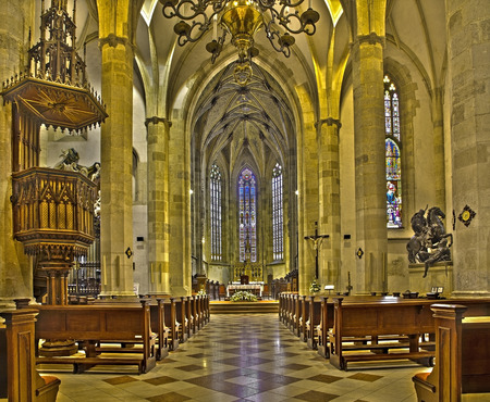 nave: BRATISLAVA, SLOVAKIA - FEBRUARY 11, 2014: Main nave of st. Martin cathedral from 15. cent.