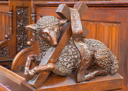 BRATISLAVA, SLOVAKIA - FEBRUARY 11, 2014: Agnus Dei carved sculpture from bench in presbytery in st. Matins cathedral from years 1863 – 1878 from manufactures of Anton Fürst a Johann Hutterer.