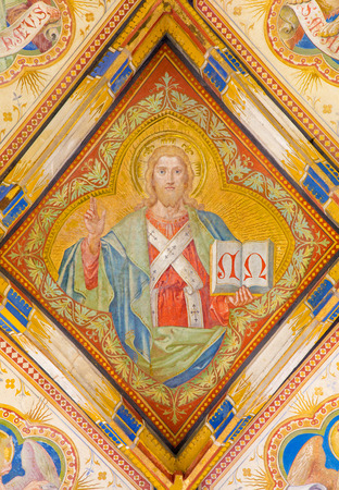 BRATISLAVA, SLOVAKIA - FEBRUARY 11, 2014: Fresco of Jesus Christ and four evangelists symbols. Detail from st. Ann gothic side chapel by Carl Jobst from 19. cent. in st. Martin cathedral.