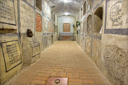 crypt: BRATISLAVA, SLOVAKIA - FEBRUARY 11, 2014: Crypt under st. Ann chapel in  st. Martin cathedral. Editorial