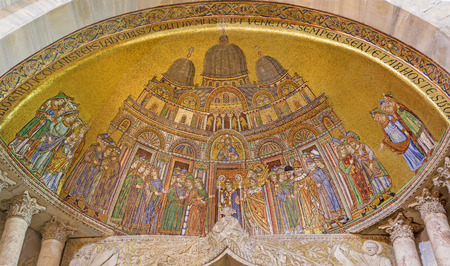 st mark: VENICE, ITALY - MARCH 11, 2014: Exterior mosaic from st. Mark cathedral - Basilica di San Marco over the side portal. Editorial